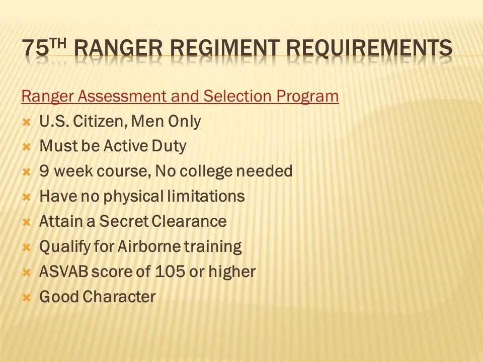 Ranger Assessment and Selection Program  U.S.