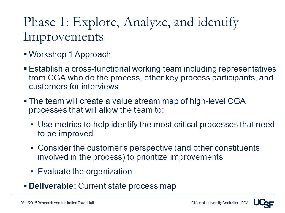 Office of Universiiy Controller - CGA3/11/2015 Research Administration Town Hall Phase 1: Explore, Analyze, and identify Improvements  Workshop 1 Approach  Establish a cross-functional working team including representatives from CGA who do the process, other key process participants, and customers for interviews  The team will create a value stream map of high-level CGA processes that will allow the team to: Use metrics to help identify the most critical processes that need to be improved Consider the customer's perspective (and other constituents involved in the process) to prioritize improvements Evaluate the organization  Deliverable: Current state process map