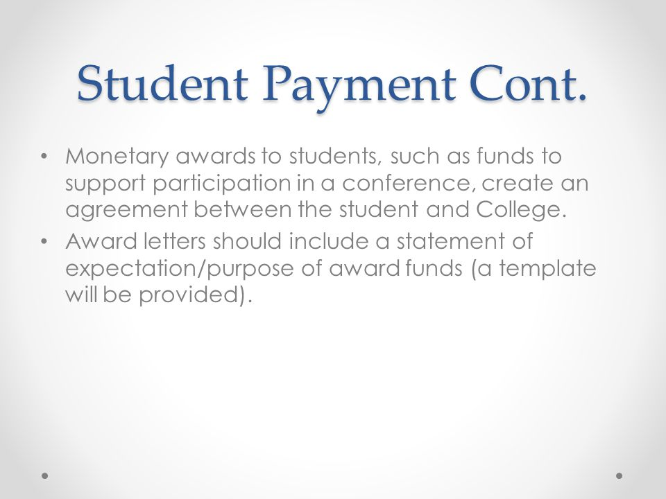 Student Payment Cont.
