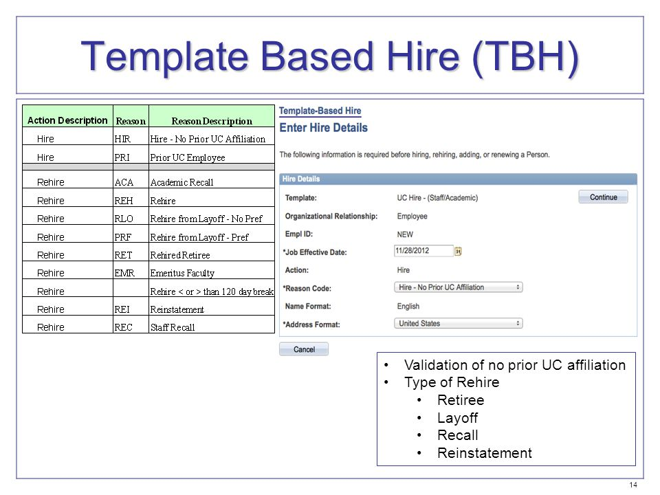 Template Based Hire (TBH) Validation of no prior UC affiliation Type of Rehire Retiree Layoff Recall Reinstatement 14