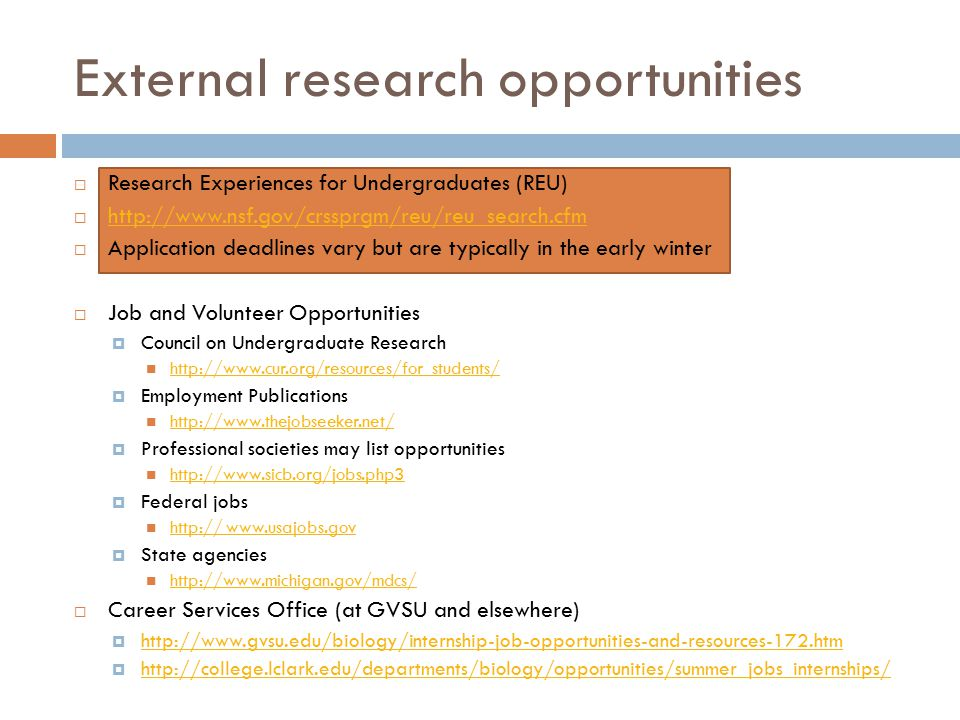 External research opportunities  Research Experiences for Undergraduates (REU)  http://www.nsf.gov/crssprgm/reu/reu_search.cfm http://www.nsf.gov/crssprgm/reu/reu_search.cfm  Application deadlines vary but are typically in the early winter  Job and Volunteer Opportunities  Council on Undergraduate Research http://www.cur.org/resources/for_students/  Employment Publications http://www.thejobseeker.net/  Professional societies may list opportunities http://www.sicb.org/jobs.php3  Federal jobs http:// www.usajobs.gov http:// www.usajobs.gov  State agencies http://www.michigan.gov/mdcs/  Career Services Office (at GVSU and elsewhere)  http://www.gvsu.edu/biology/internship-job-opportunities-and-resources-172.htm http://www.gvsu.edu/biology/internship-job-opportunities-and-resources-172.htm  http://college.lclark.edu/departments/biology/opportunities/summer_jobs_internships/ http://college.lclark.edu/departments/biology/opportunities/summer_jobs_internships/