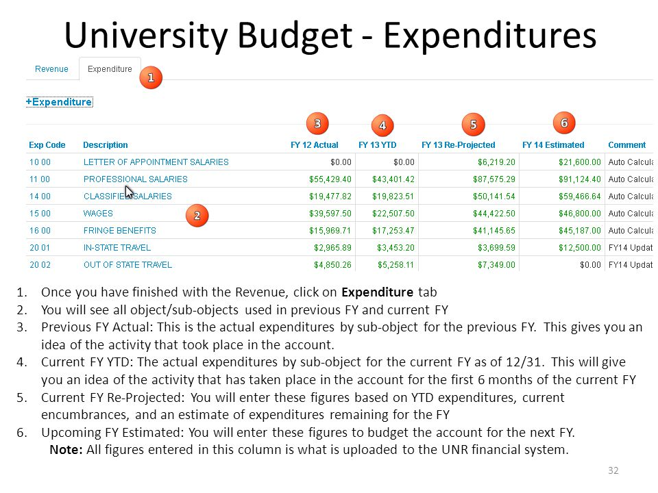 University Budget - Expenditures 1.Once you have finished with the Revenue, click on Expenditure tab 2.You will see all object/sub-objects used in previous FY and current FY 3.Previous FY Actual: This is the actual expenditures by sub-object for the previous FY.