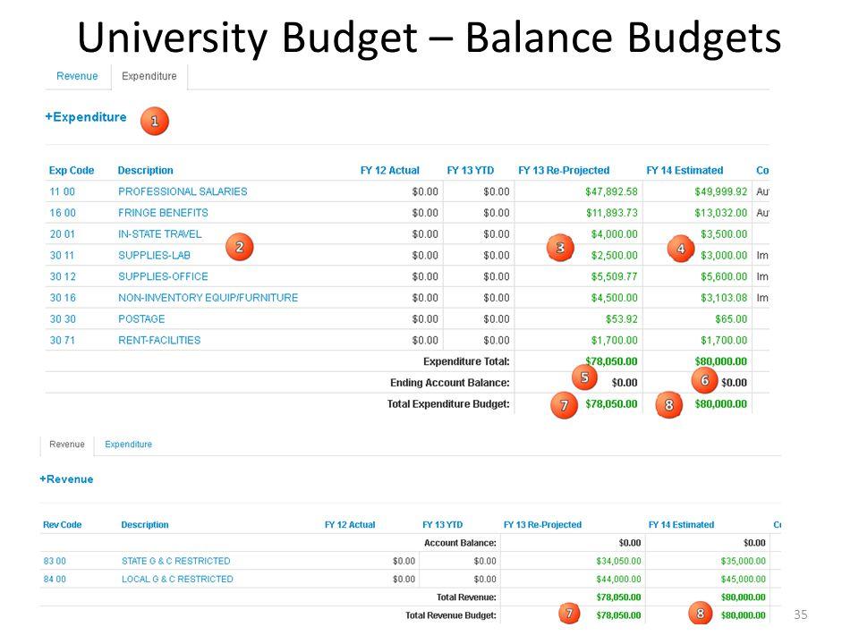 University Budget – Balance Budgets 35