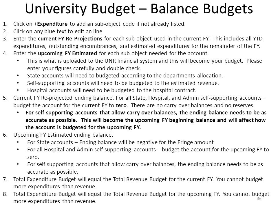 University Budget – Balance Budgets 1.Click on +Expenditure to add an sub-object code if not already listed.