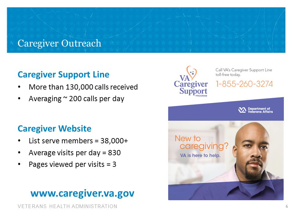 VETERANS HEALTH ADMINISTRATION Caregiver Outreach 6 Caregiver Support Line More than 130,000 calls received Averaging ~ 200 calls per day Caregiver Website List serve members = 38,000+ Average visits per day = 830 Pages viewed per visits = 3 www.caregiver.va.gov