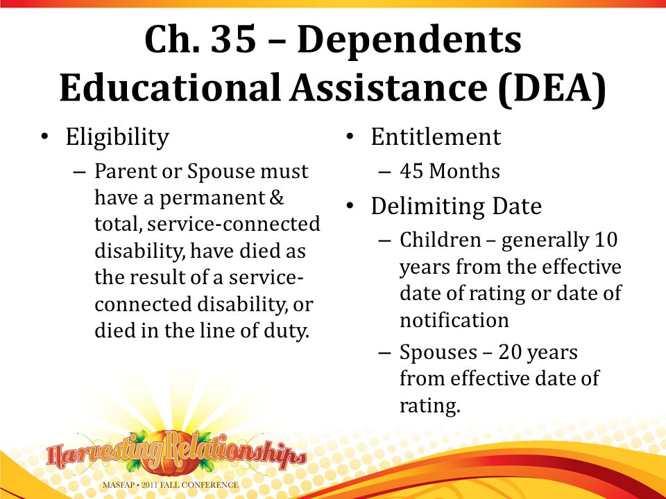 Ch. 35 – Dependents Educational Assistance (DEA) Eligibility – Parent or Spouse must have a permanent & total, service-connected disability, have died