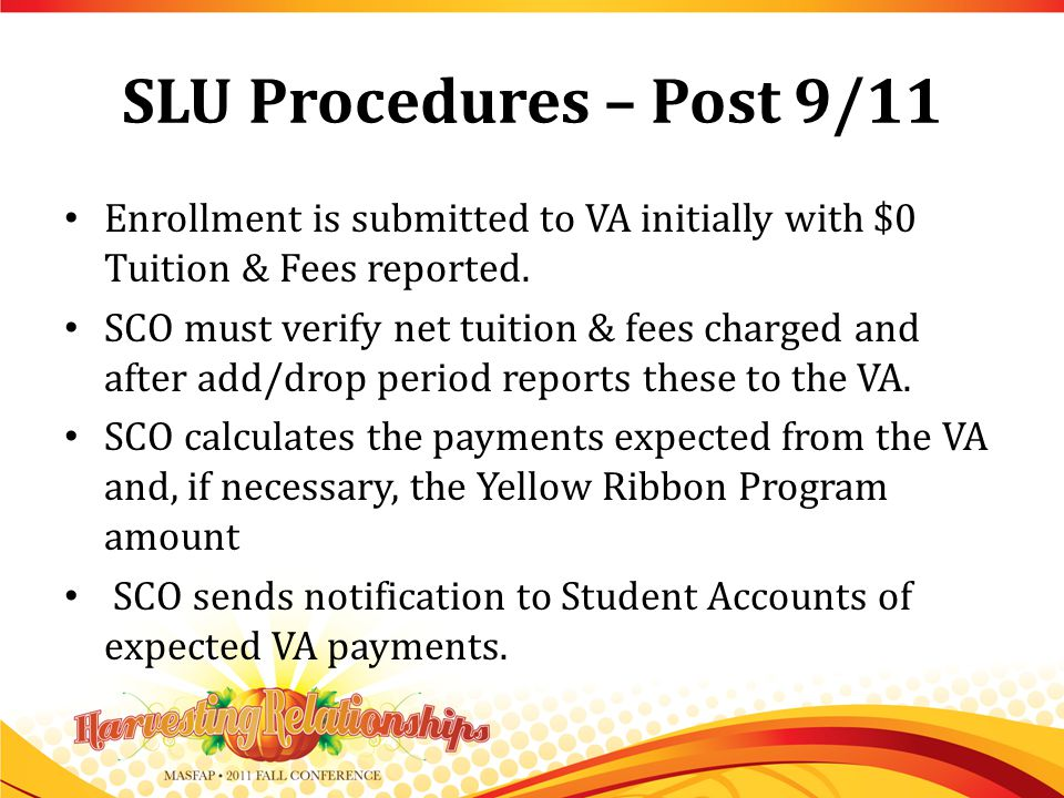 SLU Procedures – Post 9/11 Enrollment is submitted to VA initially with $0 Tuition & Fees reported.