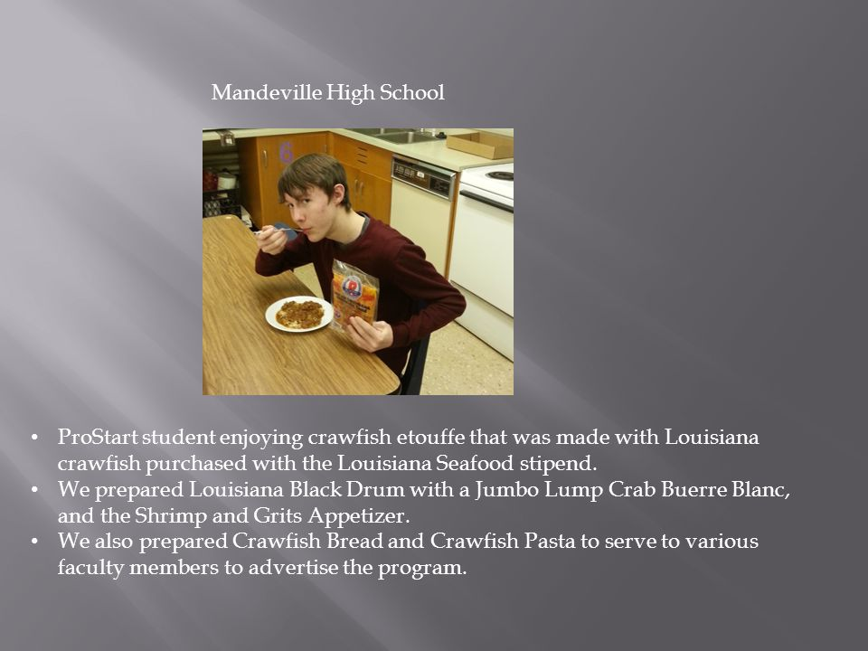 ProStart student enjoying crawfish etouffe that was made with Louisiana crawfish purchased with the Louisiana Seafood stipend.