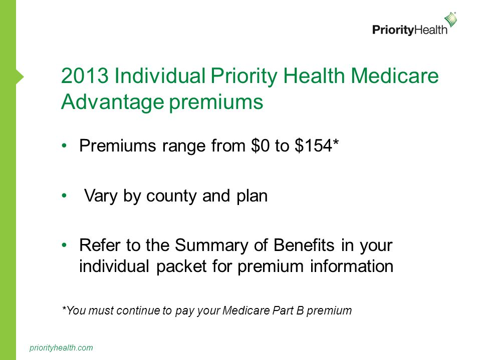 2013 Individual Priority Health Medicare Advantage premiums Premiums range from $0 to $154* Vary by county and plan Refer to the Summary of Benefits in your individual packet for premium information *You must continue to pay your Medicare Part B premium