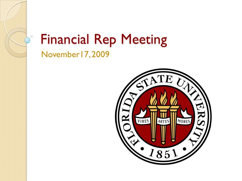 Financial Rep Meeting November17, 2009