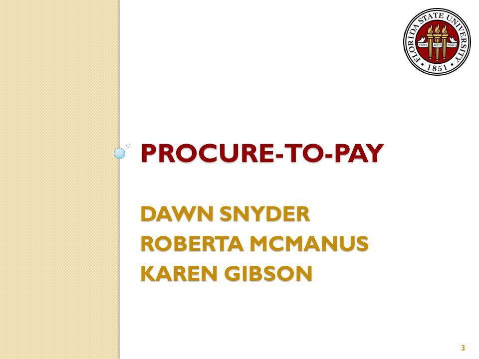 PROCURE-TO-PAY DAWN SNYDER ROBERTA MCMANUS KAREN GIBSON 3