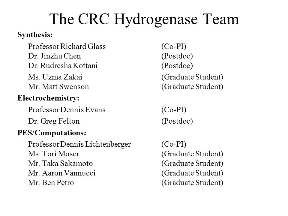 The CRC Hydrogenase Team Synthesis: Professor Richard Glass(Co-PI) Dr.