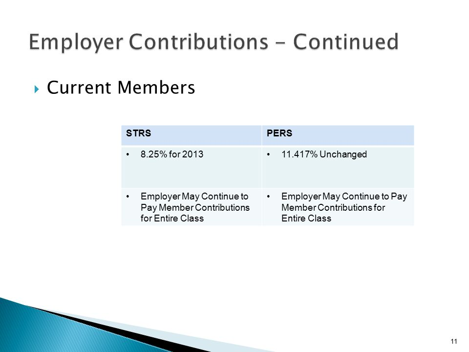  Current Members 11 STRSPERS 8.25% for 201311.417% Unchanged Employer May Continue to Pay Member Contributions for Entire Class