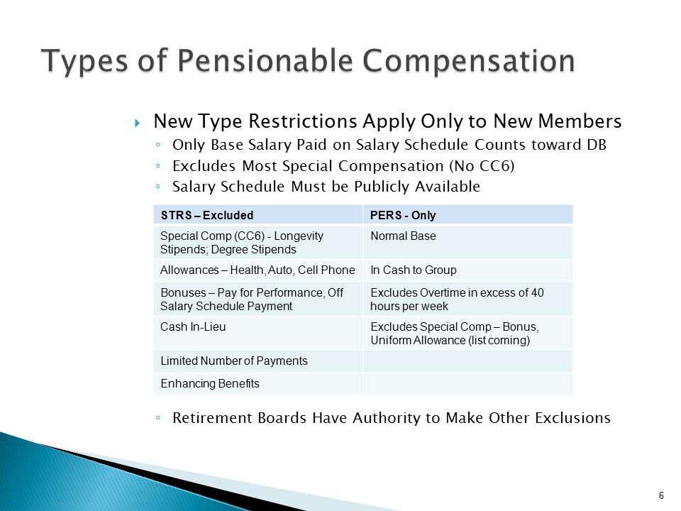  New Type Restrictions Apply Only to New Members ◦ Only Base Salary Paid on Salary Schedule Counts toward DB ◦ Excludes Most Special Compensation (No CC6) ◦ Salary Schedule Must be Publicly Available ◦ ◦ Retirement Boards Have Authority to Make Other Exclusions 6 STRS – ExcludedPERS - Only Special Comp (CC6) - Longevity Stipends; Degree Stipends Normal Base Allowances – Health, Auto, Cell PhoneIn Cash to Group Bonuses – Pay for Performance, Off Salary Schedule Payment Excludes Overtime in excess of 40 hours per week Cash In-LieuExcludes Special Comp – Bonus, Uniform Allowance (list coming) Limited Number of Payments Enhancing Benefits
