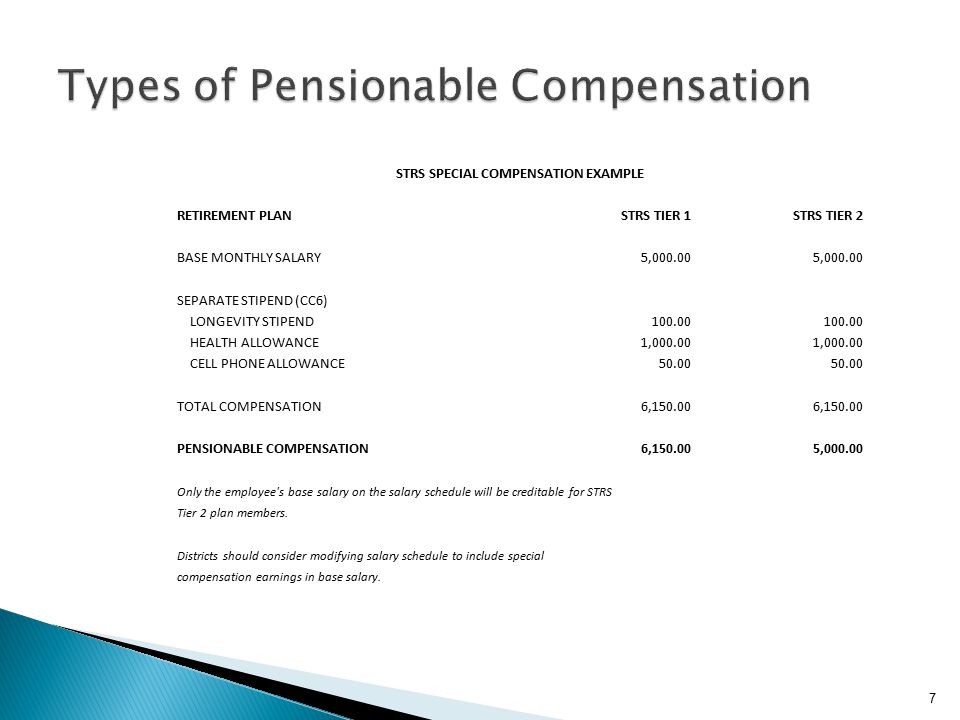 STRS SPECIAL COMPENSATION EXAMPLE RETIREMENT PLANSTRS TIER 1STRS TIER 2 BASE MONTHLY SALARY 5,000.00 SEPARATE STIPEND (CC6) LONGEVITY STIPEND 100.00 HEALTH ALLOWANCE 1,000.00 CELL PHONE ALLOWANCE 50.00 TOTAL COMPENSATION 6,150.00 PENSIONABLE COMPENSATION 6,150.00 5,000.00 Only the employee s base salary on the salary schedule will be creditable for STRS Tier 2 plan members.