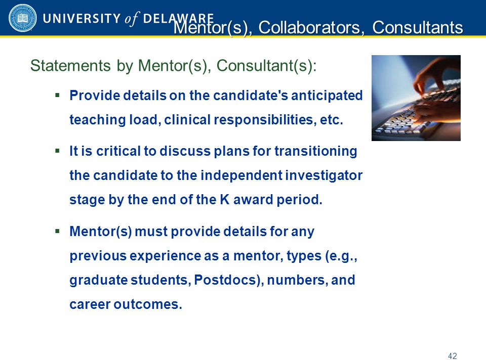Statements by Mentor(s), Consultant(s):  Provide details on the candidate's anticipated teaching load, clinical responsibilities, etc.  It is critic