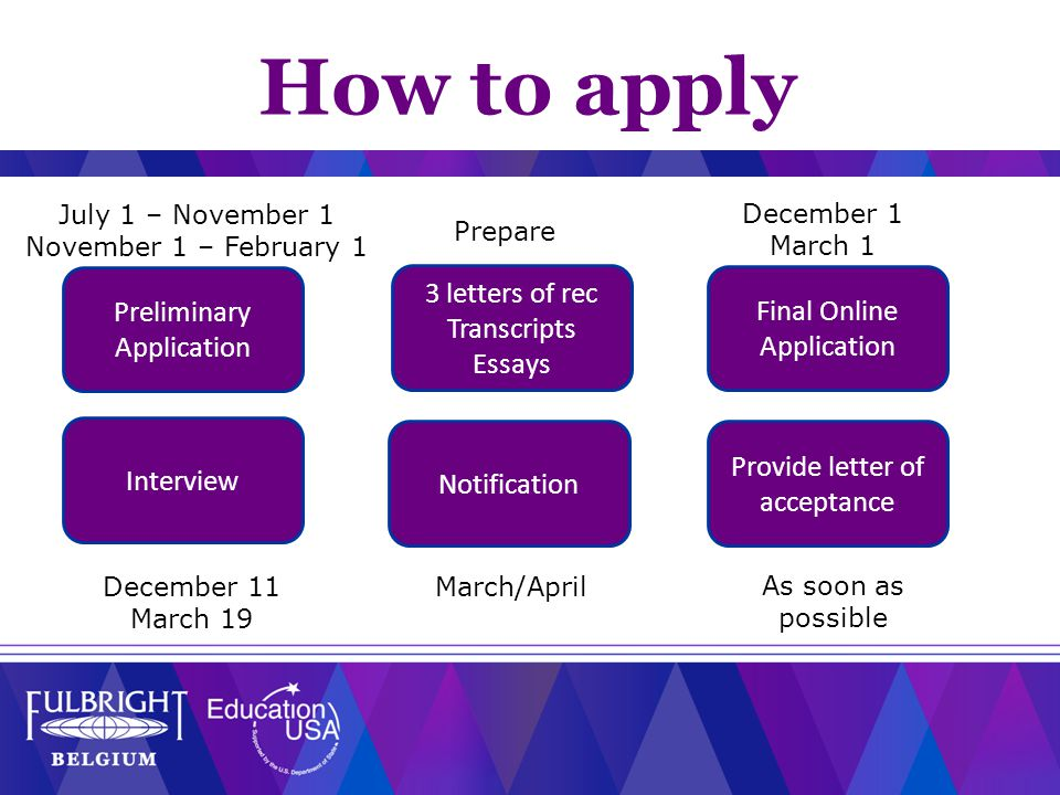 Preliminary Application 3 letters of rec Transcripts Essays Final Online Application Provide letter of acceptance Notification Interview July 1 – November 1 November 1 – February 1 December 1 March 1 December 11 March 19 March/April Prepare As soon as possible How to apply