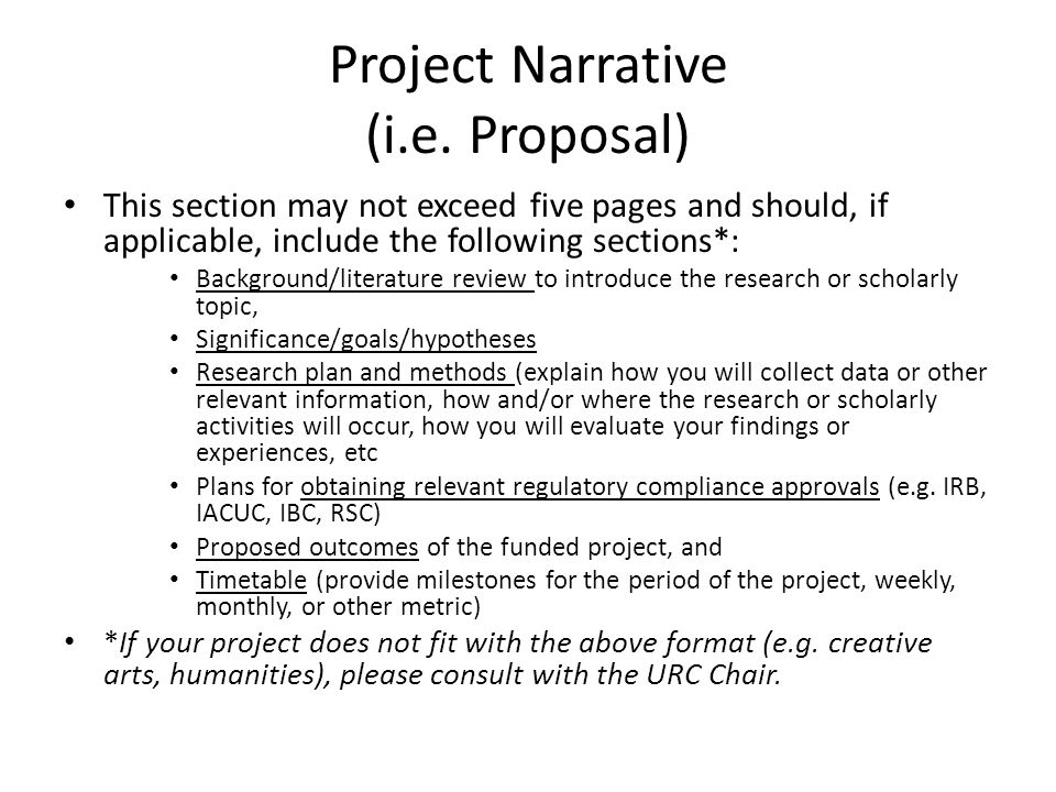 Project Narrative (i.e.