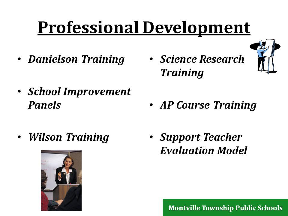 Professional Development Danielson Training School Improvement Panels Wilson Training Science Research Training AP Course Training Support Teacher Evaluation Model Montville Township Public Schools