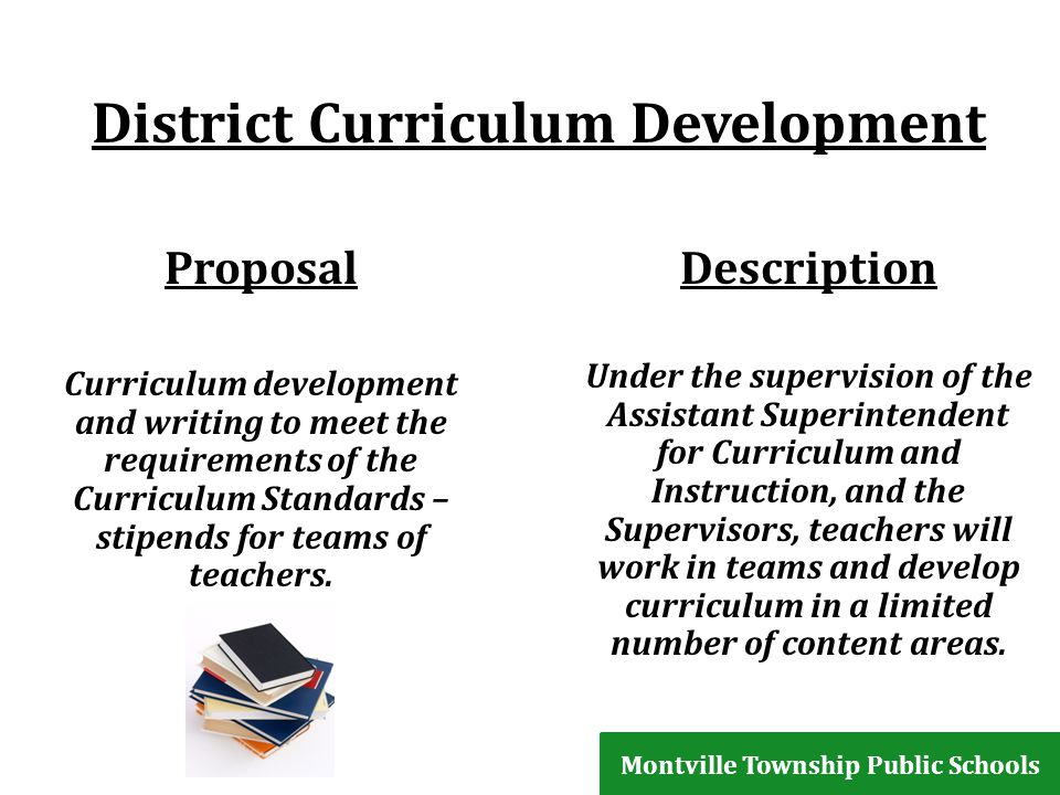 District Curriculum Development Proposal Curriculum development and writing to meet the requirements of the Curriculum Standards – stipends for teams of teachers.