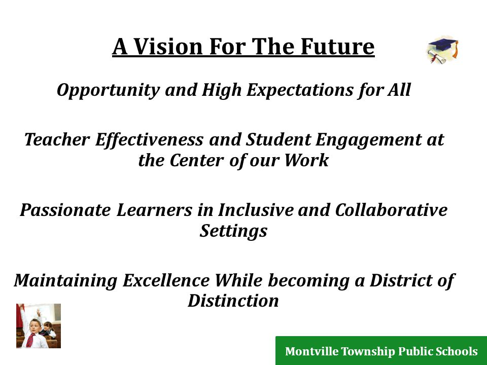 A Vision For The Future Opportunity and High Expectations for All Teacher Effectiveness and Student Engagement at the Center of our Work Passionate Learners in Inclusive and Collaborative Settings Maintaining Excellence While becoming a District of Distinction Montville Township Public Schools