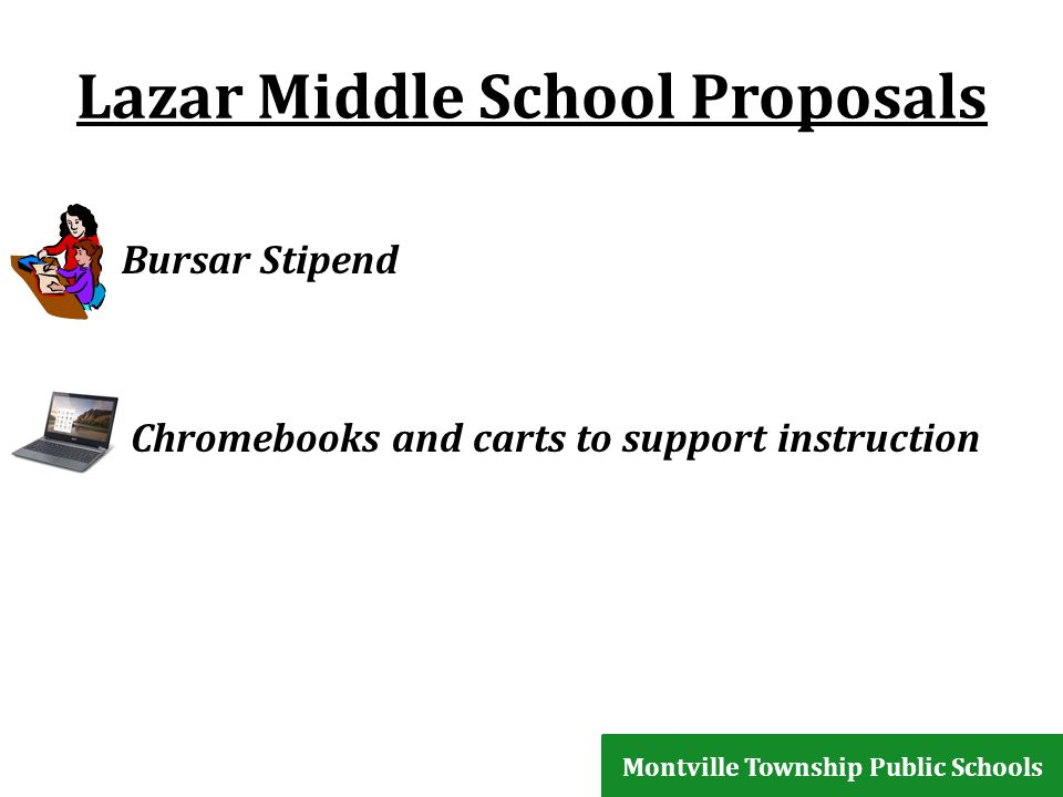 Lazar Middle School Proposals Bursar Stipend Chromebooks and carts to support instruction Montville Township Public Schools