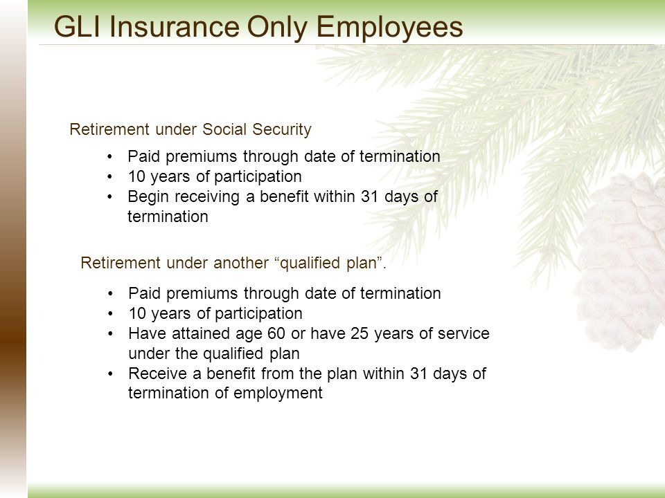 GLI Insurance Only Employees Retirement under Social Security Paid premiums through date of termination 10 years of participation Begin receiving a benefit within 31 days of termination Retirement under another qualified plan .