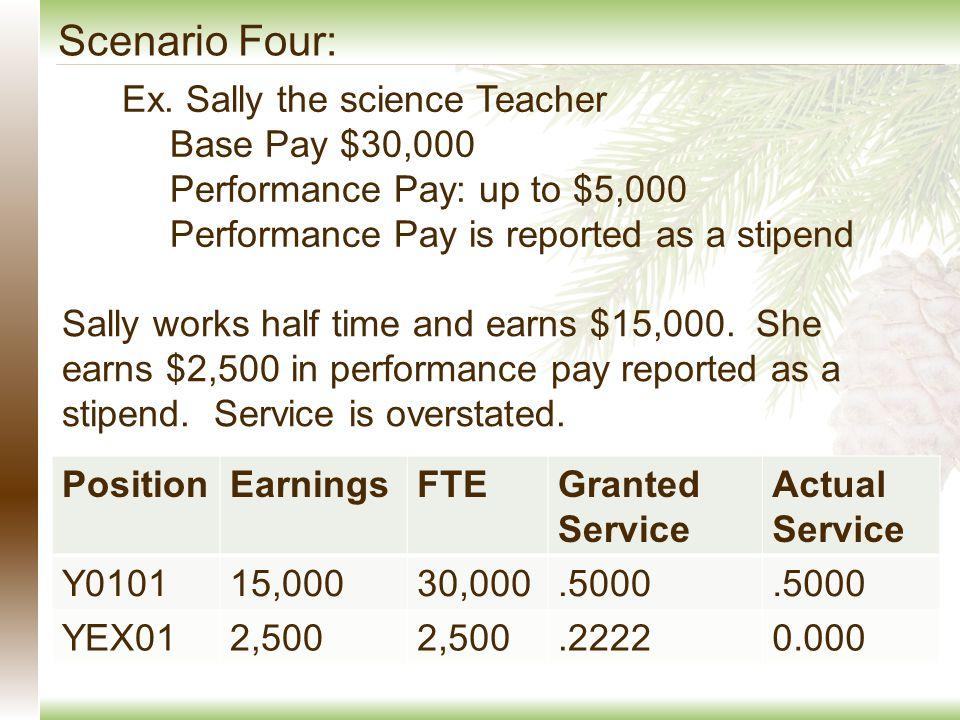 Scenario Four: Ex. Sally the science Teacher Base Pay $30,000 Performance Pay: up to $5,000 Performance Pay is reported as a stipend Sally works half