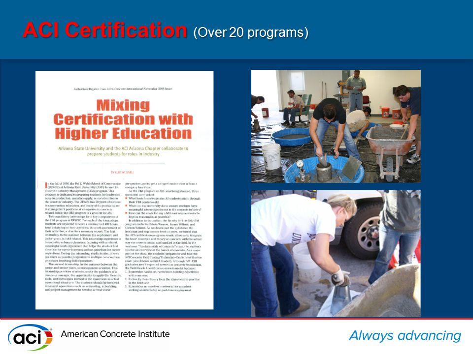 ACI Certification (Over 20 programs)