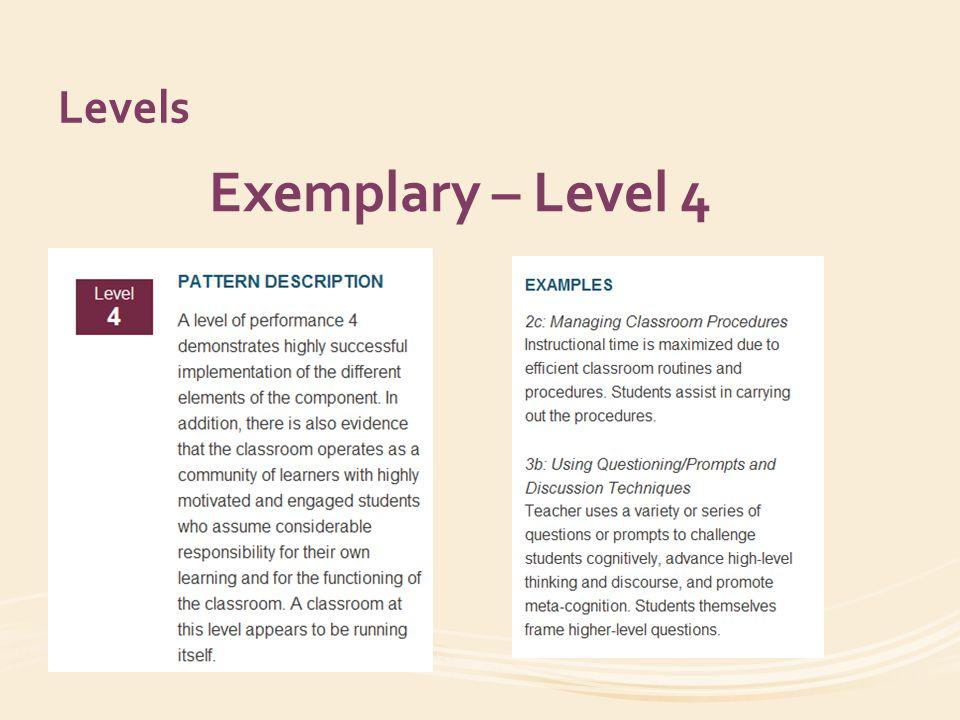 Levels Exemplary – Level 4
