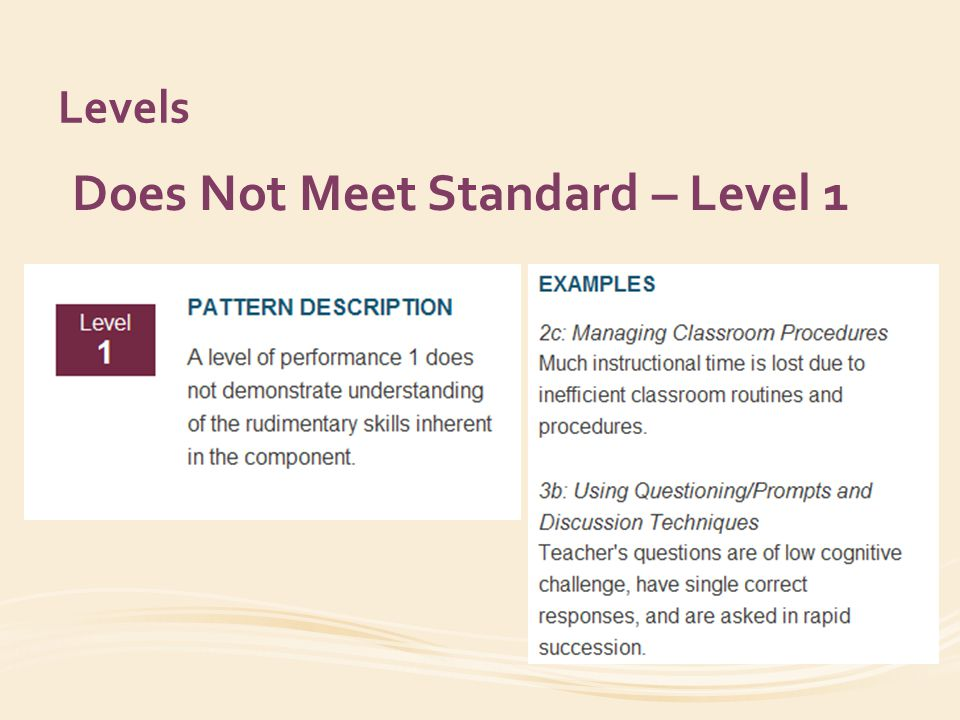 Levels Does Not Meet Standard – Level 1