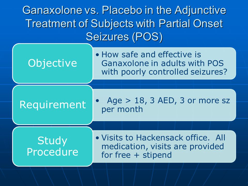 Ganaxolone vs. Placebo in the Adjunctive Treatment of Subjects with Partial Onset Seizures (POS) How safe and effective is Ganaxolone in adults with P