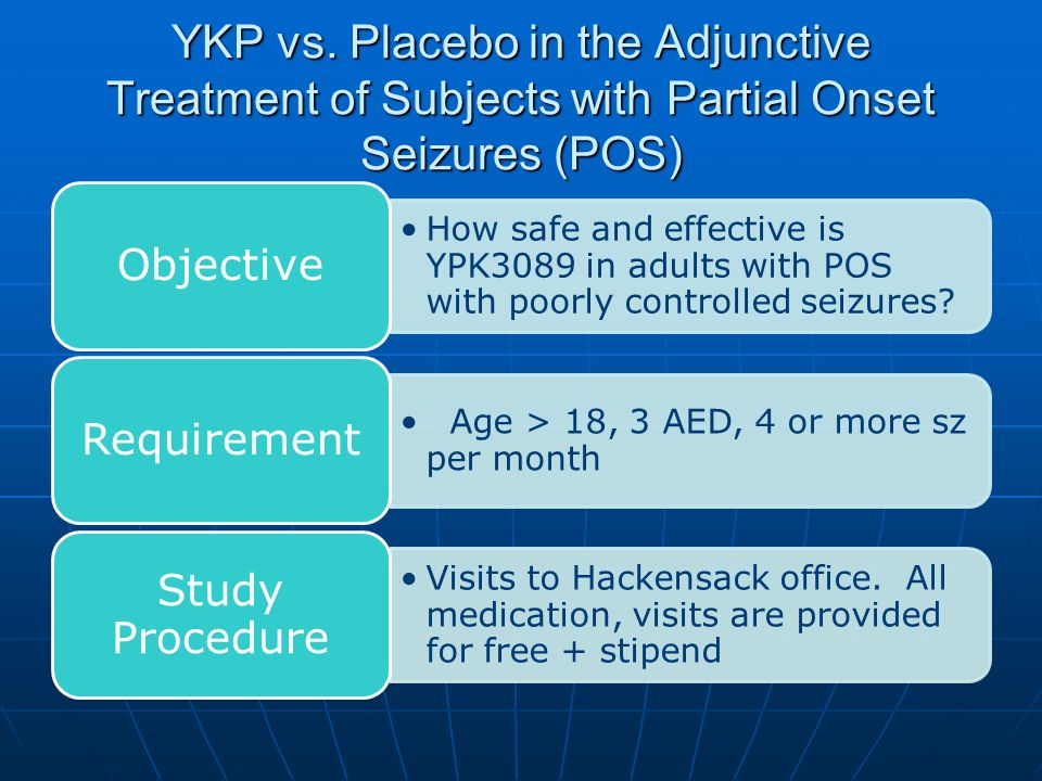 YKP vs. Placebo in the Adjunctive Treatment of Subjects with Partial Onset Seizures (POS) How safe and effective is YPK3089 in adults with POS with po