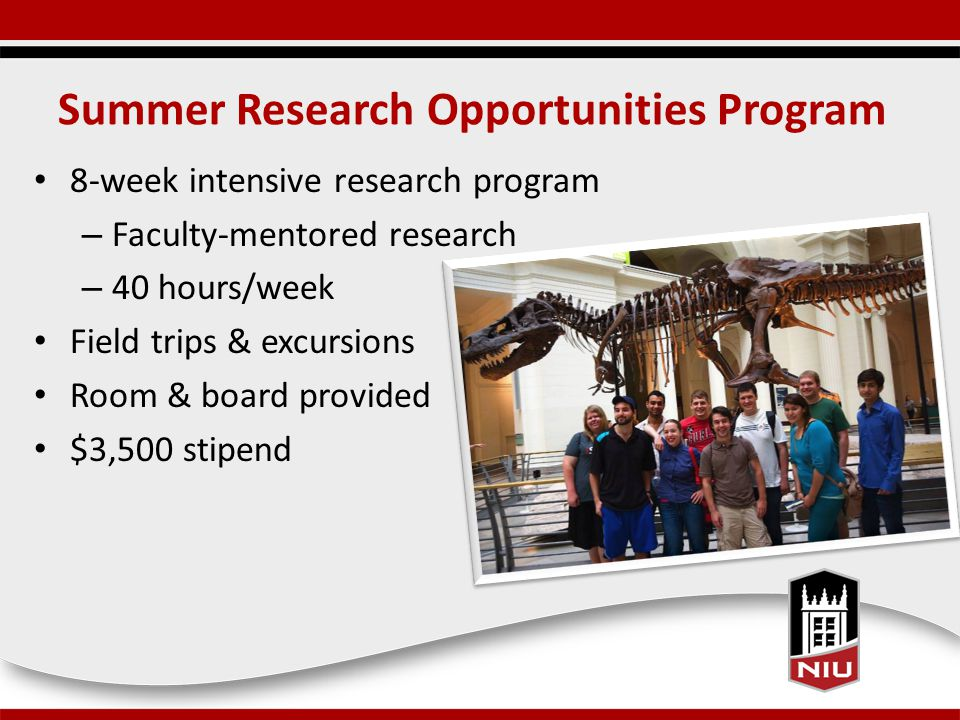 Summer Research Opportunities Program 8-week intensive research program – Faculty-mentored research – 40 hours/week Field trips & excursions Room & board provided $3,500 stipend