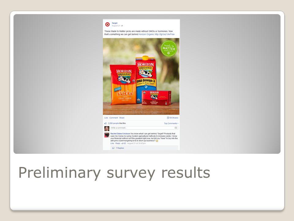 Preliminary survey results