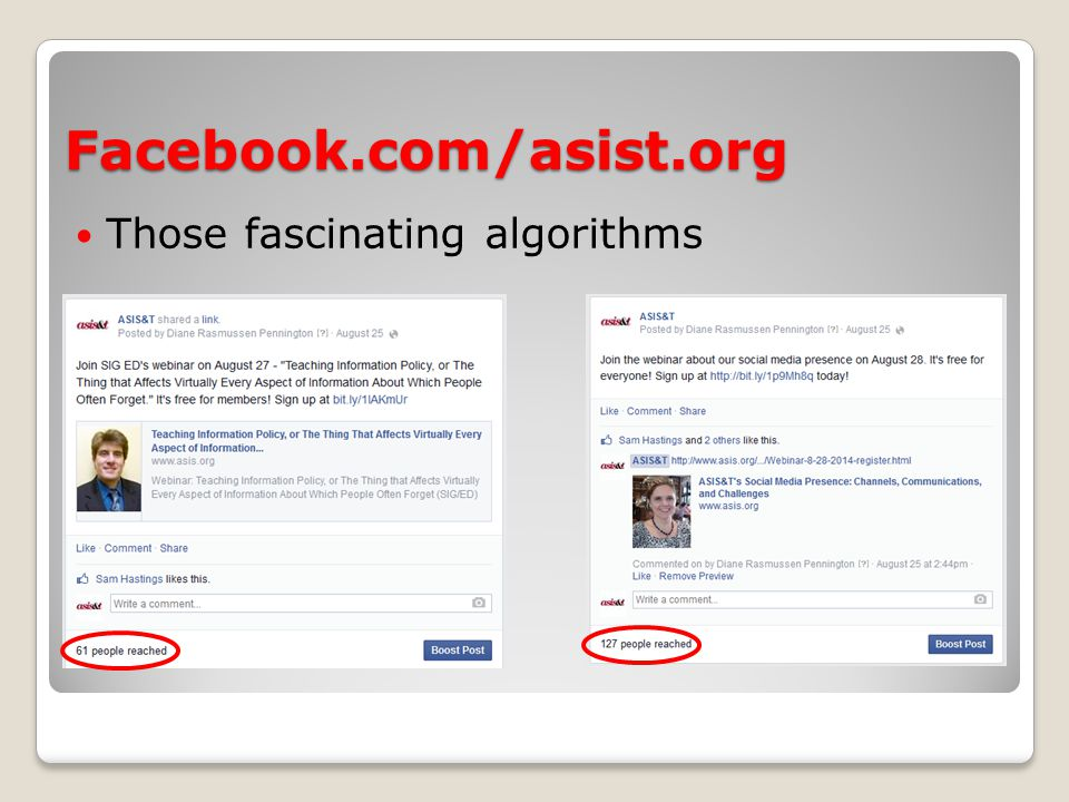 Facebook.com/asist.org Those fascinating algorithms
