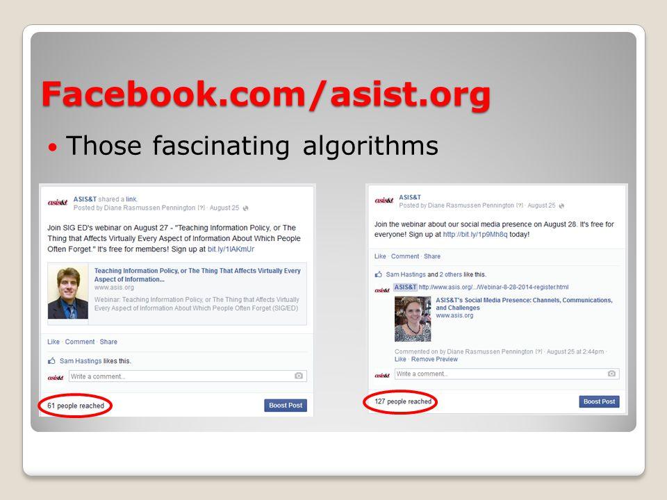 Facebook.com/asist.org This week's metrics