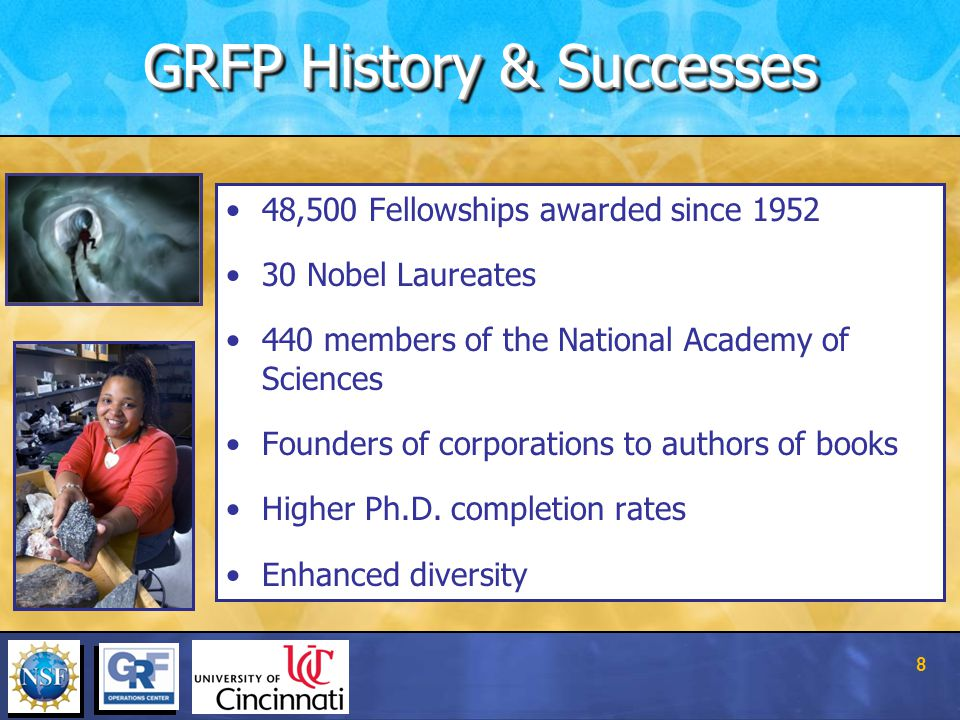 48,500 Fellowships awarded since 1952 30 Nobel Laureates 440 members of the National Academy of Sciences Founders of corporations to authors of books Higher Ph.D.