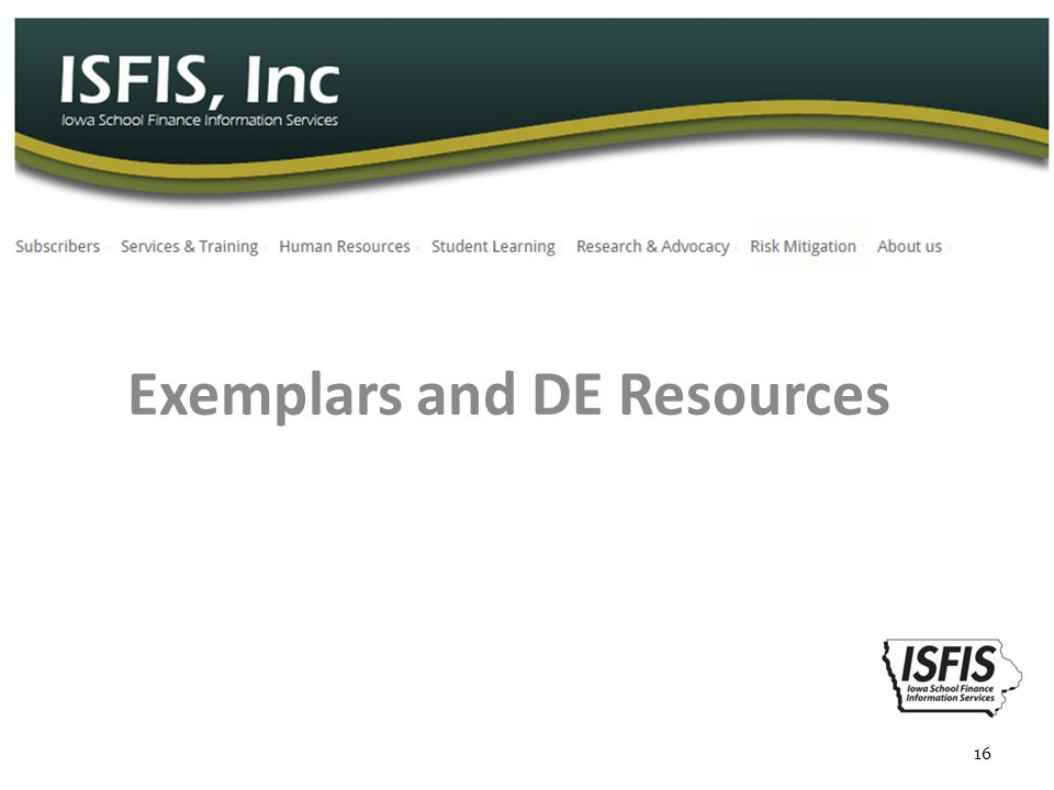 Exemplars and DE Resources 16