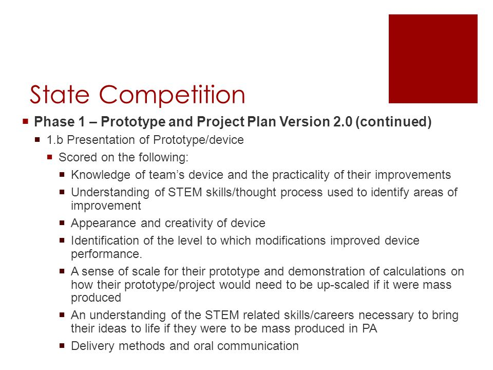 State Competition  Phase 1 – Prototype and Project Plan Version 2.0 (continued)  1.b Presentation of Prototype/device  Scored on the following:  Knowledge of team's device and the practicality of their improvements  Understanding of STEM skills/thought process used to identify areas of improvement  Appearance and creativity of device  Identification of the level to which modifications improved device performance.