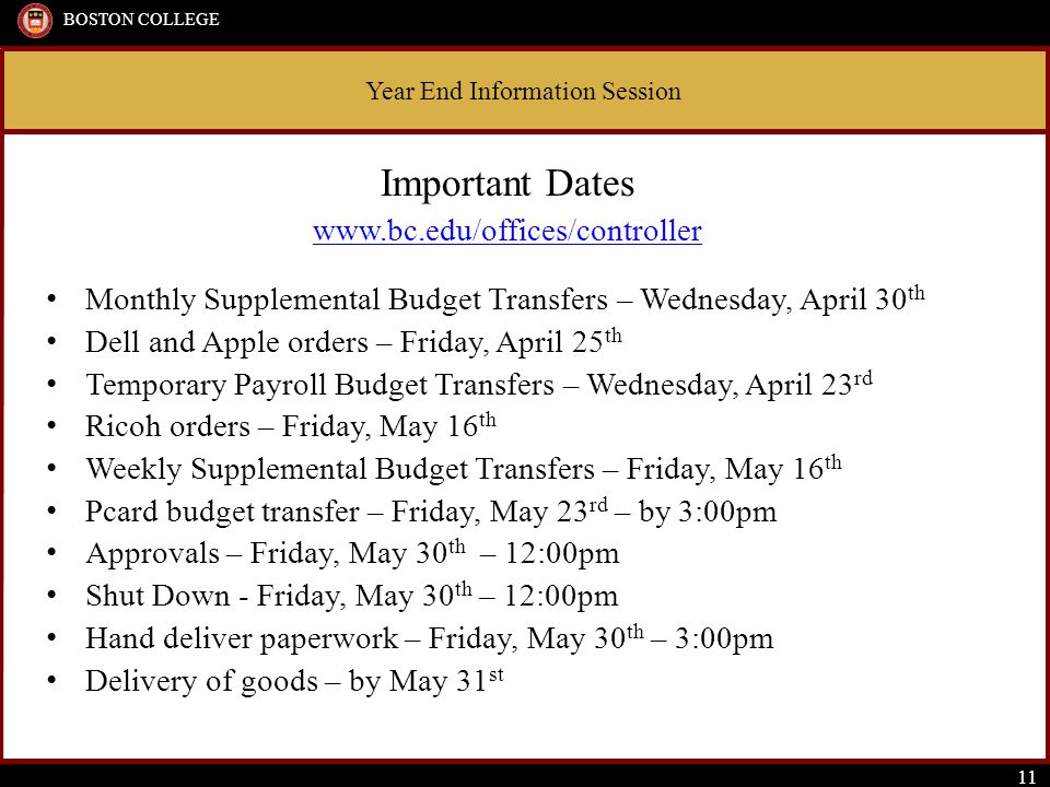 Year End Information Session BOSTON COLLEGE 11 Important Dates www.bc.edu/offices/controller Monthly Supplemental Budget Transfers – Wednesday, April