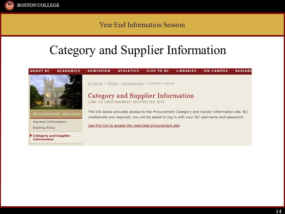Year End Information Session BOSTON COLLEGE 14 Category and Supplier Information