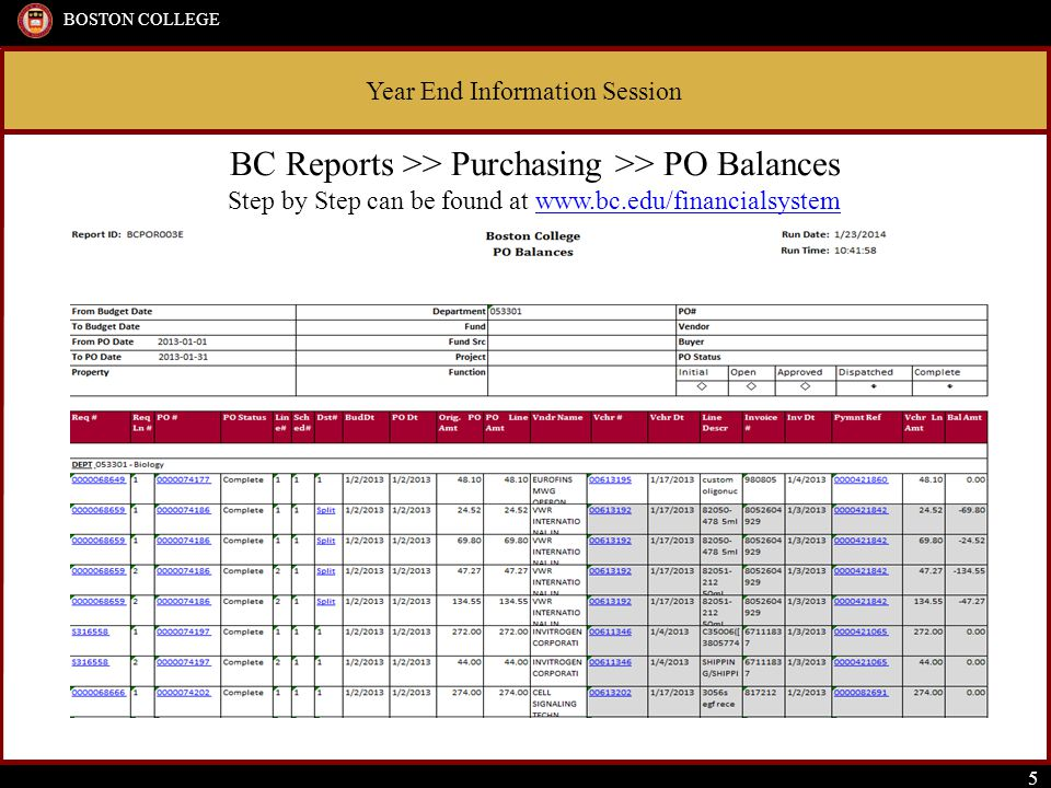 Year End Information Session BOSTON COLLEGE 5 BC Reports >> Purchasing >> PO Balances Step by Step can be found at www.bc.edu/financialsystemwww.bc.ed