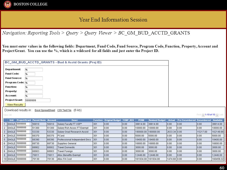 Year End Information Session BOSTON COLLEGE 60 Navigation: Reporting Tools > Query > Query Viewer > BC_GM_BUD_ACCTD_GRANTS You must enter values in the following fields: Department, Fund Code, Fund Source, Program Code, Function, Property, Account and Project/Grant.