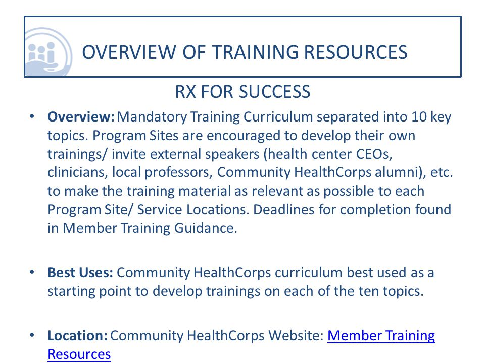 RX FOR SUCCESS Overview: Mandatory Training Curriculum separated into 10 key topics.