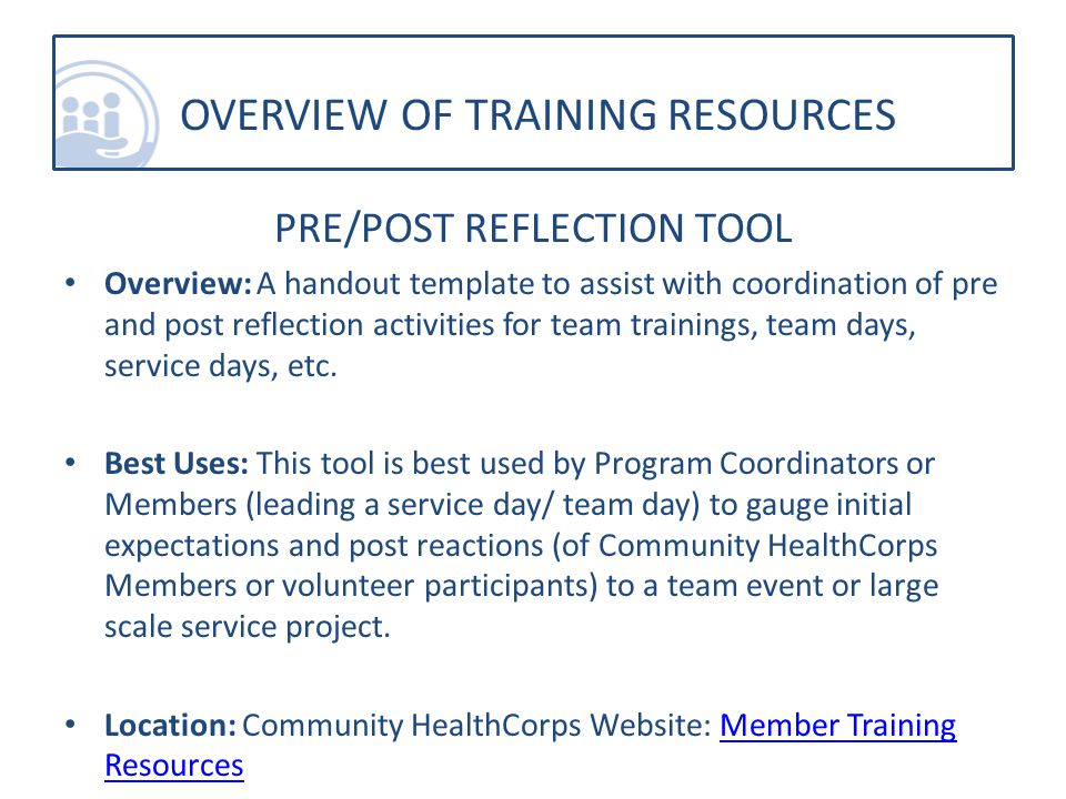 PRE/POST REFLECTION TOOL Overview: A handout template to assist with coordination of pre and post reflection activities for team trainings, team days, service days, etc.