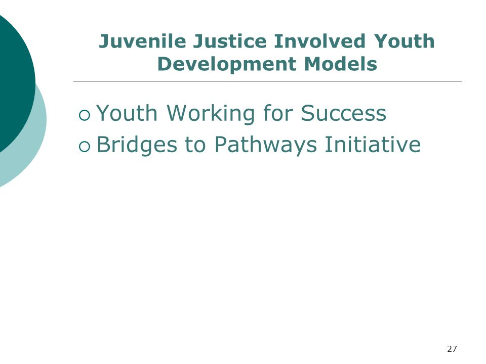 Juvenile Justice Involved Youth Development Models  Youth Working for Success  Bridges to Pathways Initiative 27