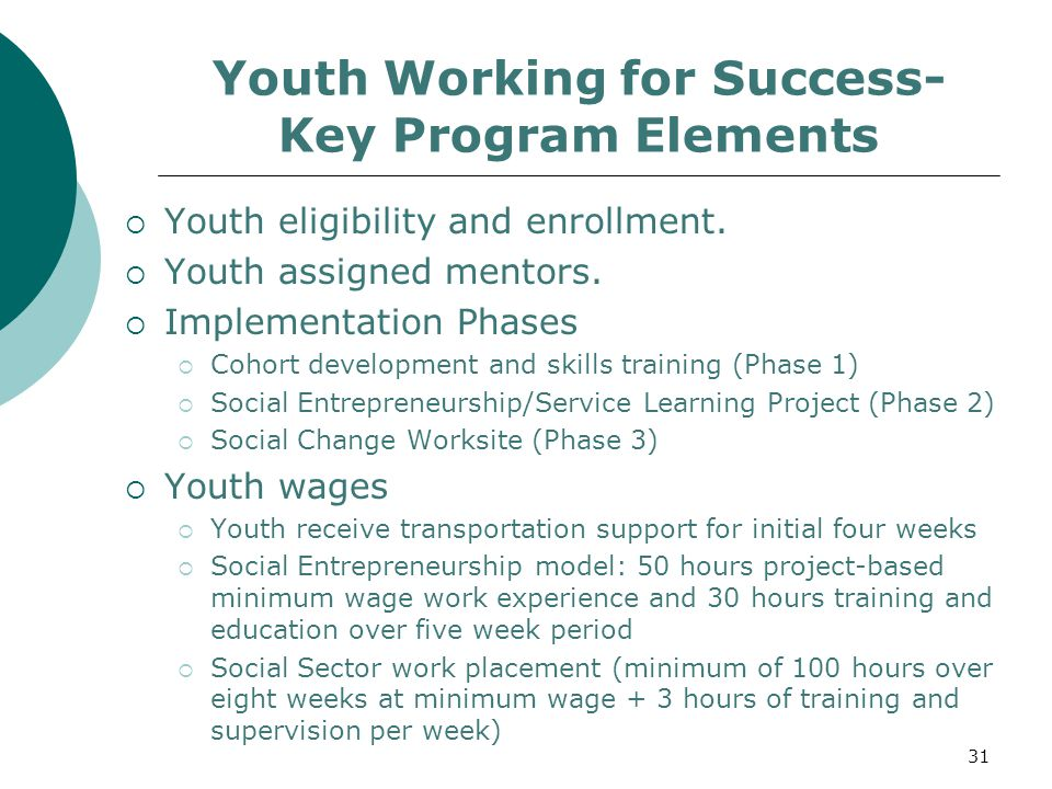 Youth Working for Success- Key Program Elements  Youth eligibility and enrollment.