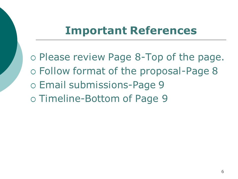 Important References  Please review Page 8-Top of the page.