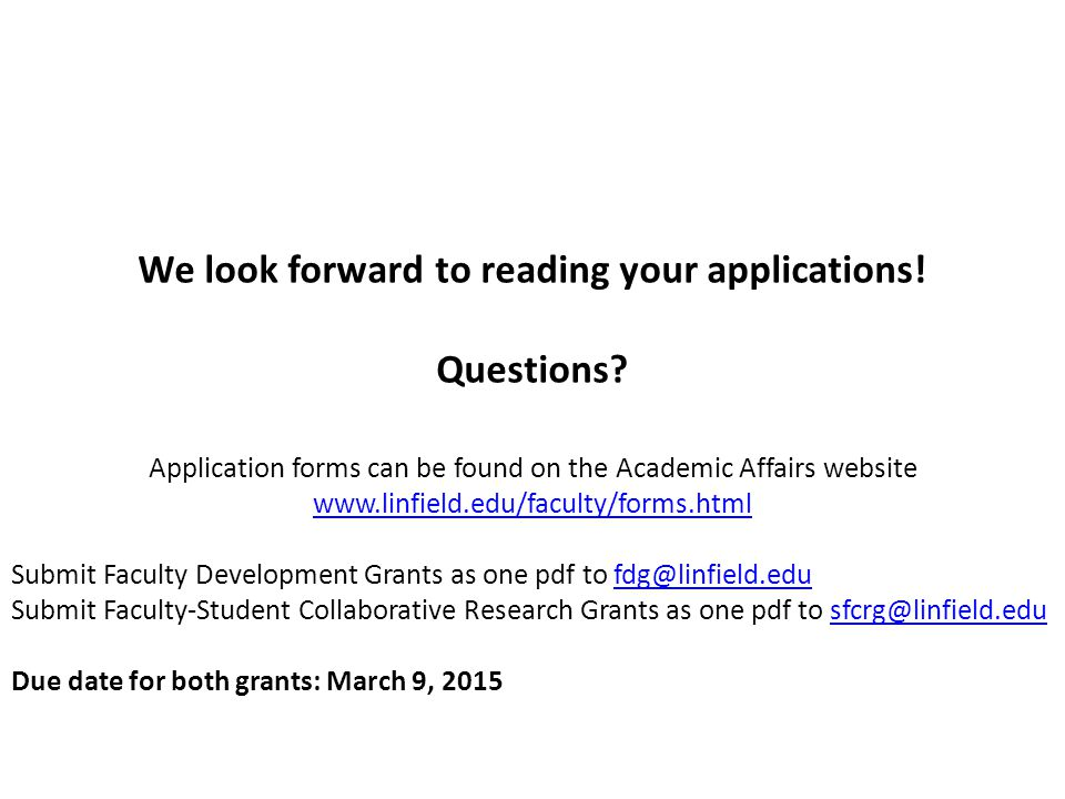We look forward to reading your applications. Questions.